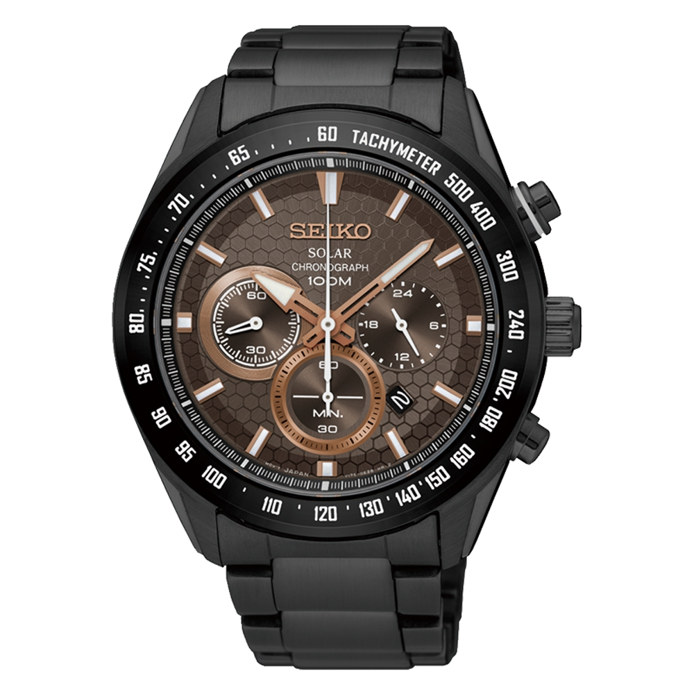 SEIKO 精工Criteria 太陽能 競速賽車三眼計時運動錶-黑/43.6mm/SSC