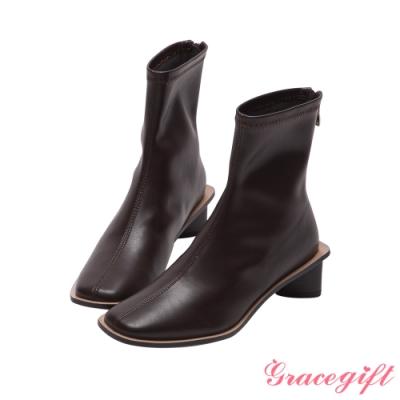 Grace gift-ETUDE leather shop-經典車線中跟短靴 咖
