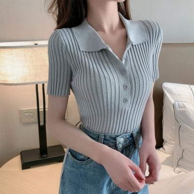 2F韓衣-簡約立領排扣針織造型上衣-3色(F)