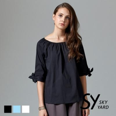 【SKY YARD 天空花園】都會綁結五分袖素面舒棉造型上衣-黑