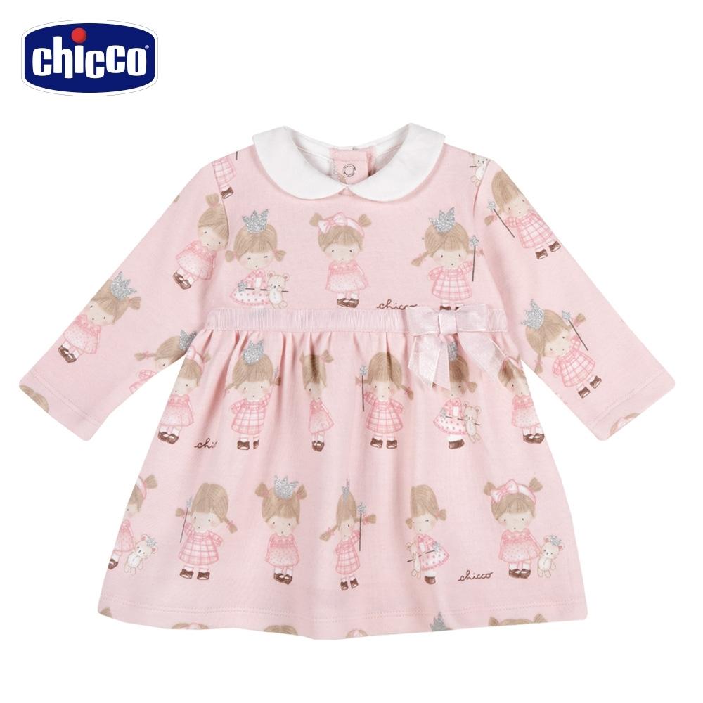 chicco-甜蜜女孩-滿底印花有領洋裝