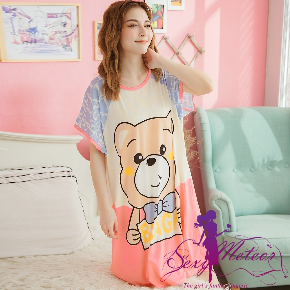 睡衣 大尺碼 熊字母印圖牛奶絲短袖連身裙睡衣(微笑藍) Sexy Meteor
