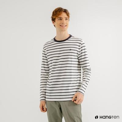 Hang Ten-男裝-厚磅腳丫長袖T恤-黑白條紋