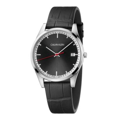 CALVIN KLEIN time 時光系列商務腕錶-皮帶黑面/ 40mm