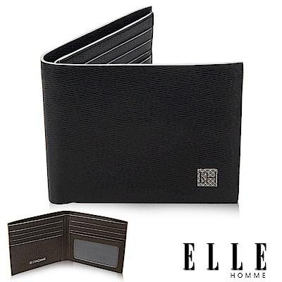 福利品ELLE 菱格紋系列 義大利頭層牛皮 單層鈔票/多層證件/名片設計短夾- 黑色