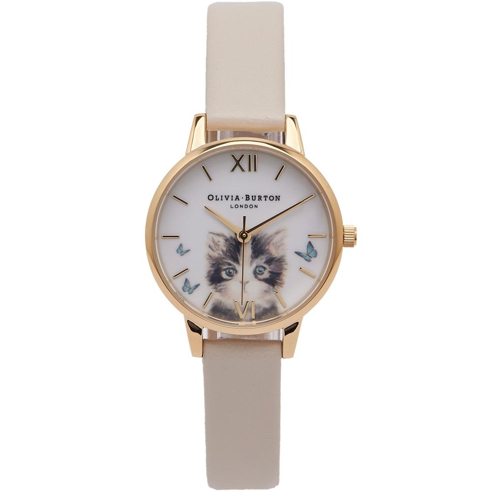 OLIVIA BURTON 貓咪戲蝶款皮革手錶(OB16WL75)-白面x淺灰白色/30mm