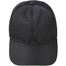PRADA 螢光橡膠標籤尼龍棒球帽(黑色)