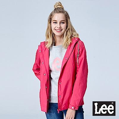Lee 連帽風衣外套-桃紅
