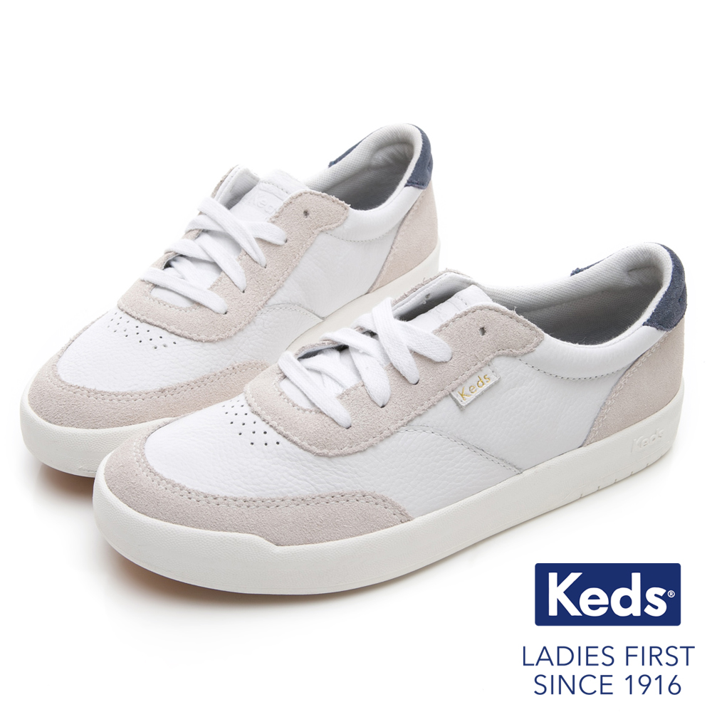 Keds MATCH PIONT 經典復刻皮革休閒鞋-白/灰