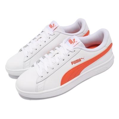 Puma 休閒鞋 Smash v2 L 復古 女鞋 板鞋 基本款 皮革 穿搭推薦 百搭 白 橘 36521527