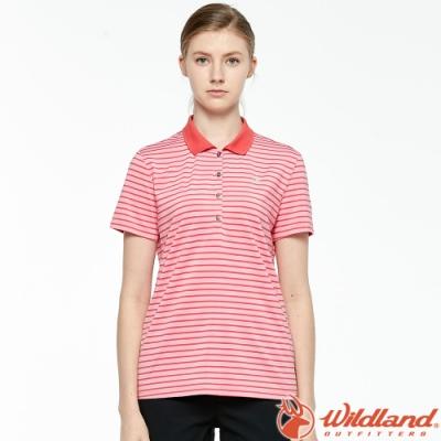 Wildland 荒野 0A81609-22蜜粉紅 女彈性條紋YOKE上衣 抗UV/涼爽散熱/吸濕快乾/POLO衫/團體服