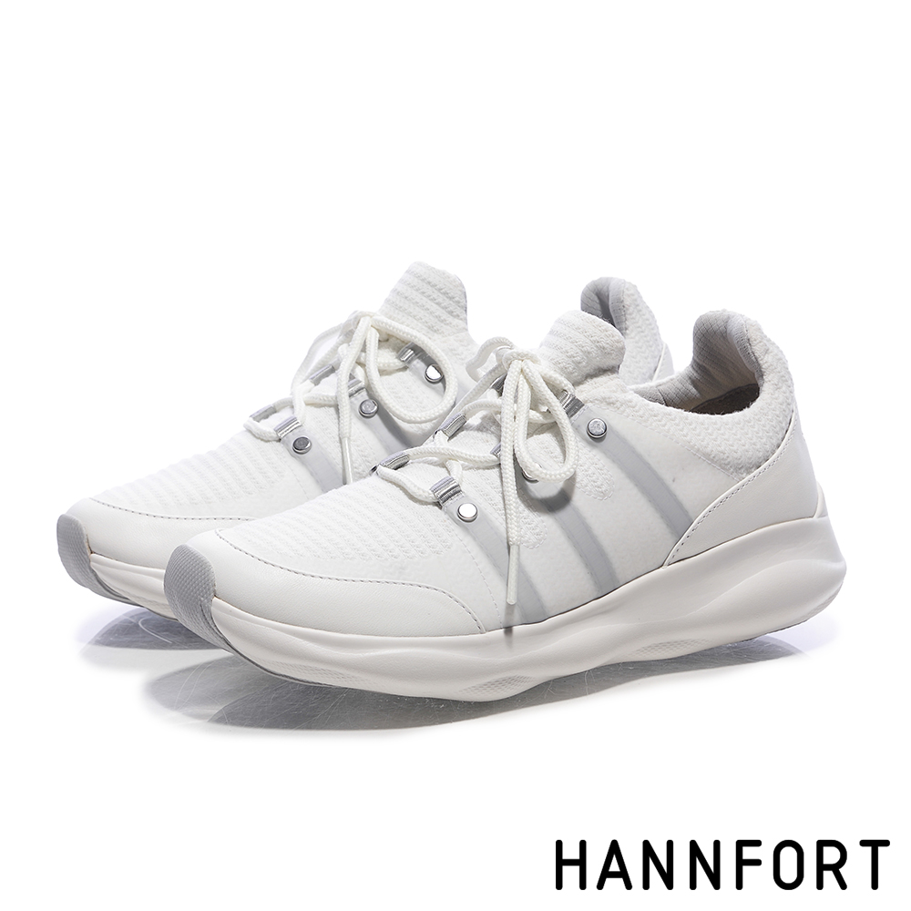 HANNFORT BUBBLES暖心針織跑鞋-女-絨心白
