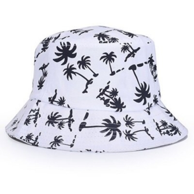 米蘭精品 遮陽防曬椰子樹漁夫帽-戶外休閒時尚印花情人節生日禮物男女帽子4色73db1