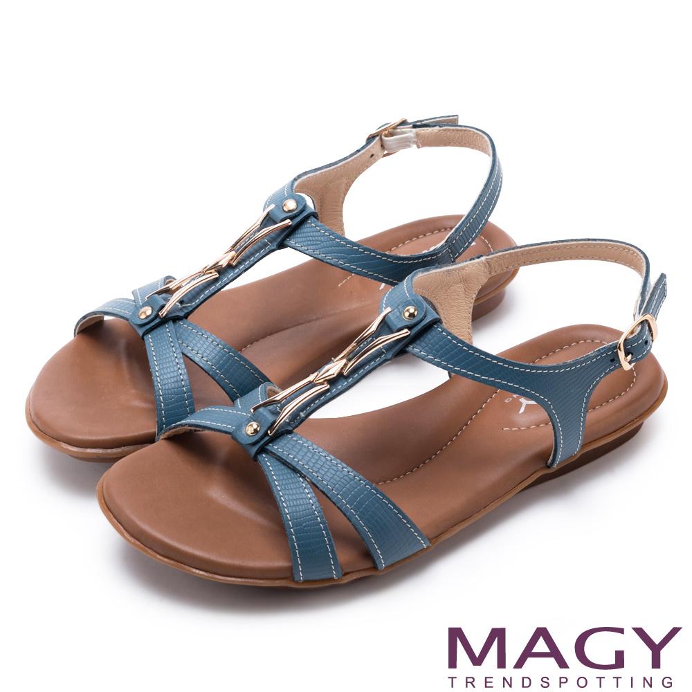 MAGY 經典剪裁 牛皮蜥蜴壓紋平底涼鞋-藍色