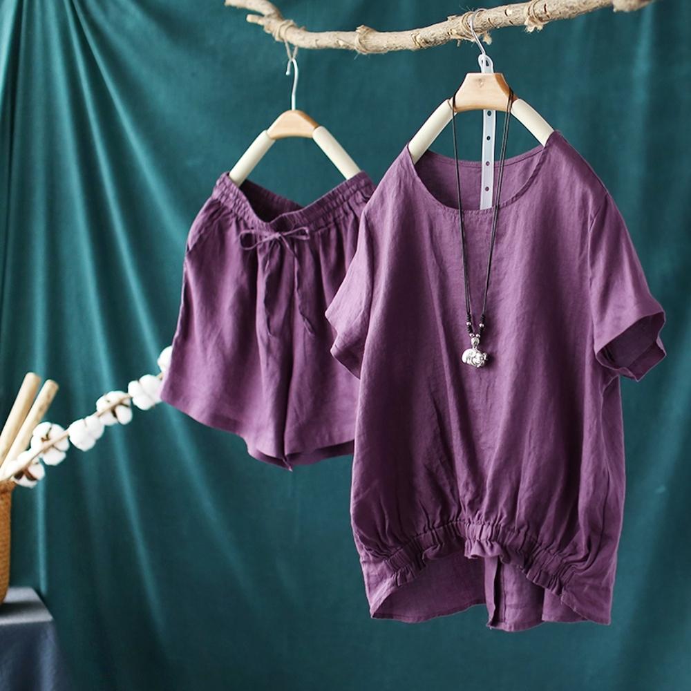 亞麻套裝寬鬆短袖T恤短褲兩件套-設計所在