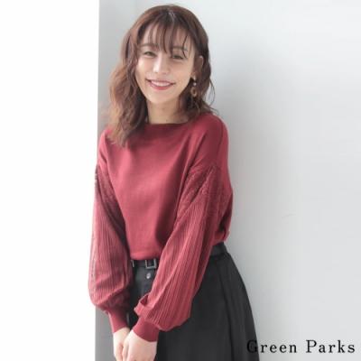 Green Parks 刺繡蕾絲袖拼接圓領針織上衣
