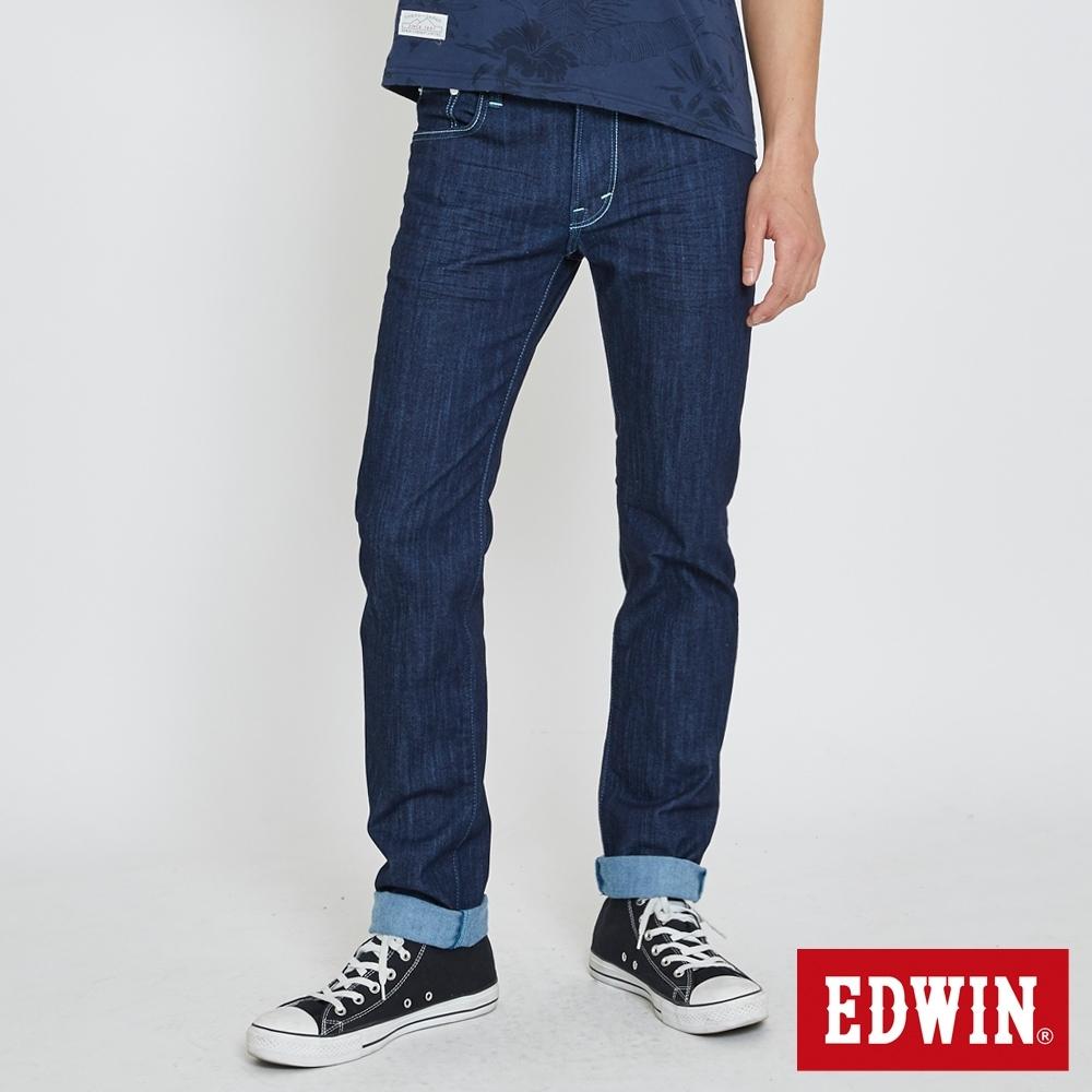 EDWIN EDGE 加大碼 綠漸層小直筒牛仔褲-男-原藍色