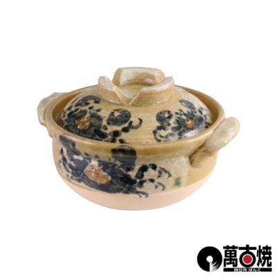 日本螃蟹繪附蓋雜炊砂鍋-5號-0.9L-日本製17cm