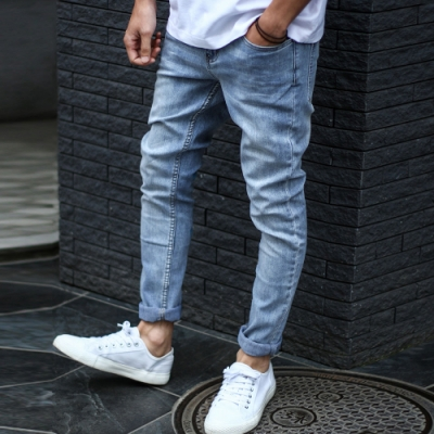 丹寧窄管褲超彈性窄管牛仔褲(9色) ZIP日本男裝
