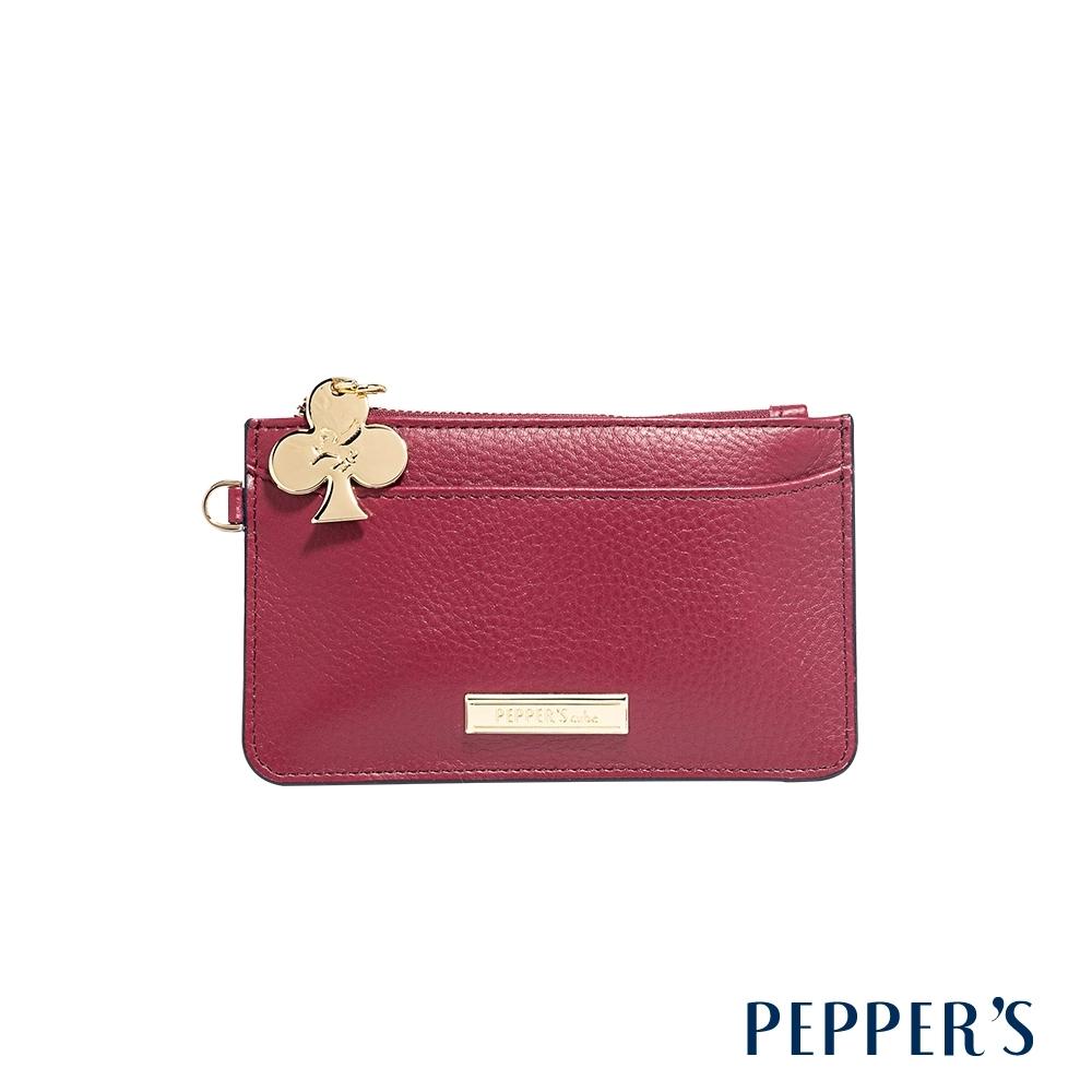PEPPER'S Doris 牛皮鑰匙卡夾包 - 酒紅