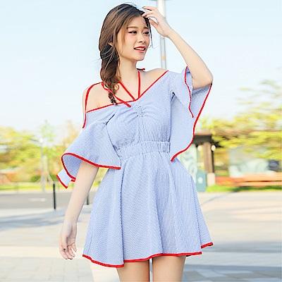 DABI 韓國風度假藍色條紋系帶度假小清新露背短袖洋裝