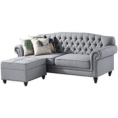 文創集 波巴現代法式亞麻布L型沙發組合(三人座+椅凳)-210x164x92cm免組