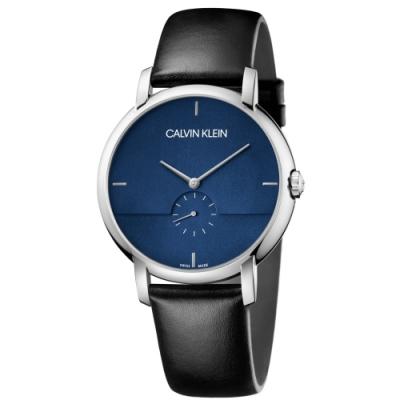 Calvin Klein CK 紳士簡約小秒針皮帶腕錶(K9H2X1CN)43mm