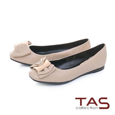 TAS雙層蝴蝶結方頭荔枝紋牛皮娃娃鞋-清感米