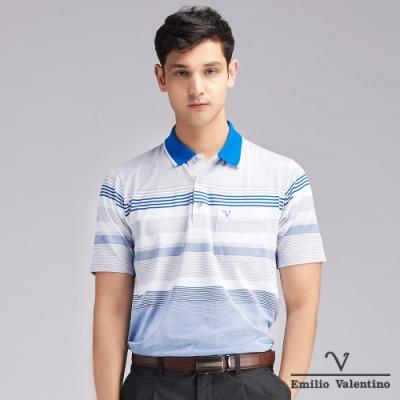Emilio Valentino范倫鐵諾防皺機能橫紋POLO衫_灰/藍(66-V3121)