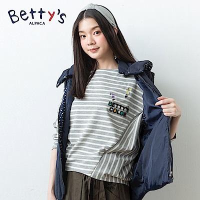 betty's貝蒂思 條紋交錯飛鼠袖T-shirt(淺灰)