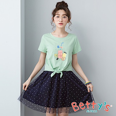 betty's貝蒂思 前印花拼接點點網紗洋裝(淺綠)