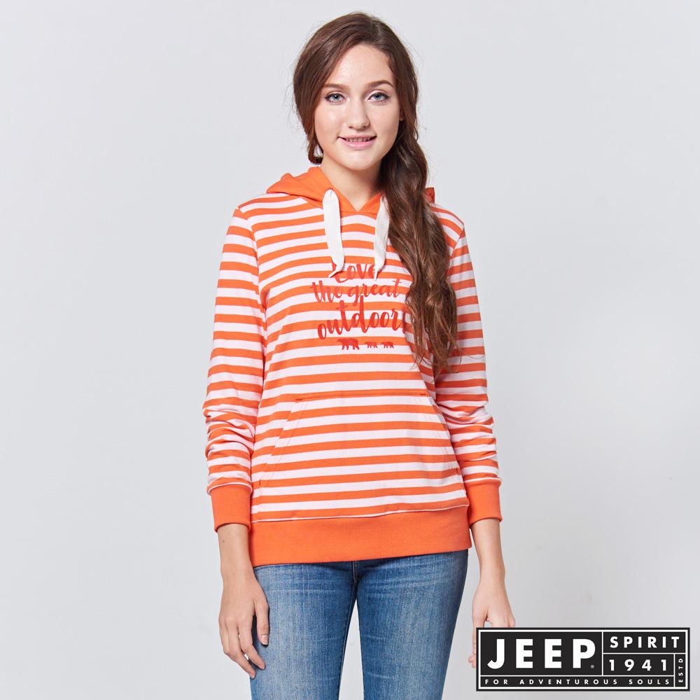 JEEP 女裝 美式休閒條紋長袖帽TEE -橘色