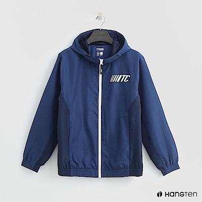 Hang Ten - 男裝 - 拼接色塊拉鍊連帽外套 - 藍