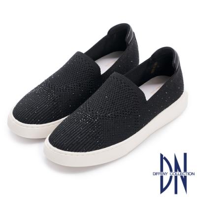 DN休閒鞋_水鑽點綴幾何針織平底鞋-黑
