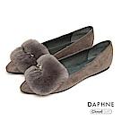 達芙妮DAPHNE 平底鞋-軟毛絨布金屬別飾平底鞋-灰