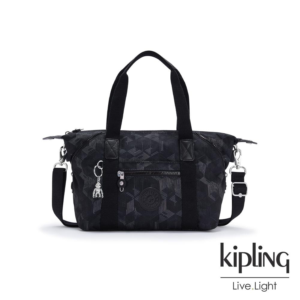 Kipling 幾何圖騰黑手提側背包-ART MINI
