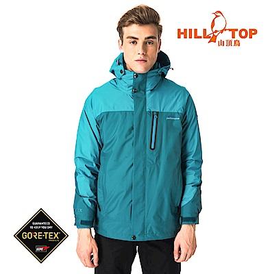 【hilltop山頂鳥】男款GORETEX兩件式防水羽絨拆袖短大衣F22MX5綠