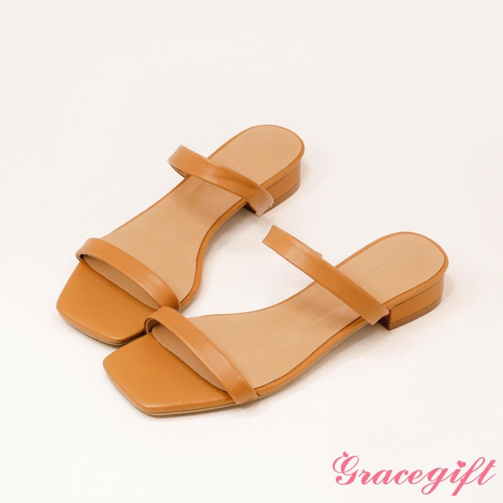 Grace gift-一字雙細帶低跟涼拖鞋 棕