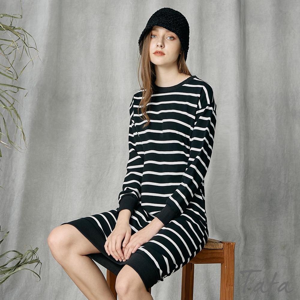黑白條紋縮口洋裝 TATA-(M~XL) (黑白條紋)