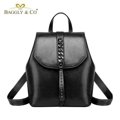 【BAGGLY&CO】迪密特真皮歐美風鐵鍊鉚釘綴飾後背包(四色)