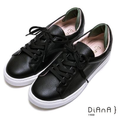 DIANA-真皮綁帶休閒鞋-漫步雲端焦糖美人-綠x黑