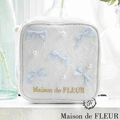 Maison de FLEUR 珍珠蝴蝶結裝飾隨身小包