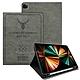 二代筆槽版 VXTRA iPad Pro 12.9吋 2021/2020/2018版通用 北歐鹿紋平板皮套 保護套(清水灰) product thumbnail 1