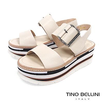 Tino Bellini 異材質跳色拼接藝術厚底涼鞋 _ 米白