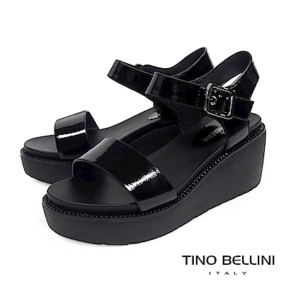 Tino Bellini 潮人單釦帶細鑽漆皮楔型涼鞋 _ 黑