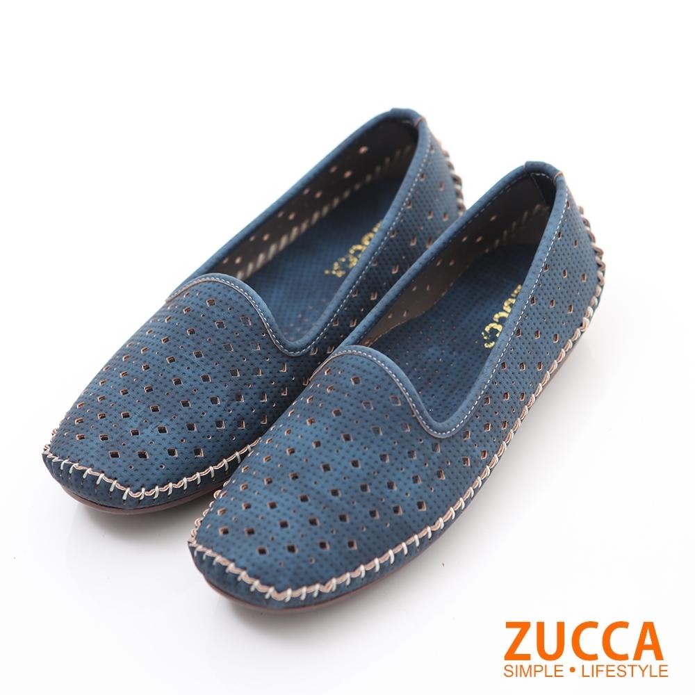 ZUCCA-縷空車線氣墊平底包鞋-藍-Z6001be