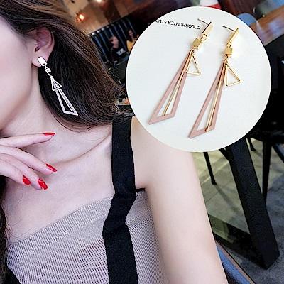 梨花HaNA 無耳洞韓國粉紅三角幾何飾界夾式長耳環