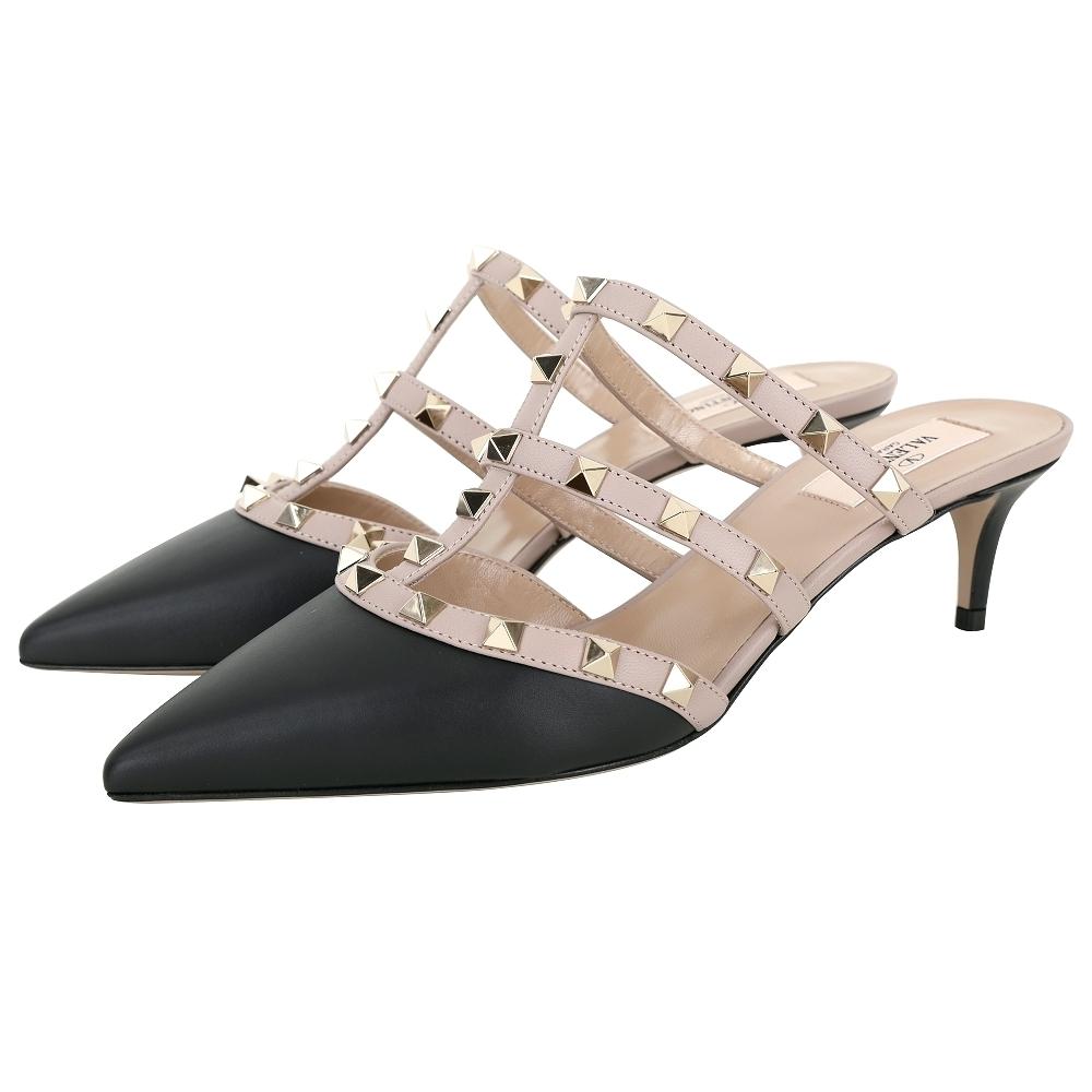 VALENTINO ROCKSTUD 鉚釘系列撞色牛皮低跟穆勒鞋(黑色)
