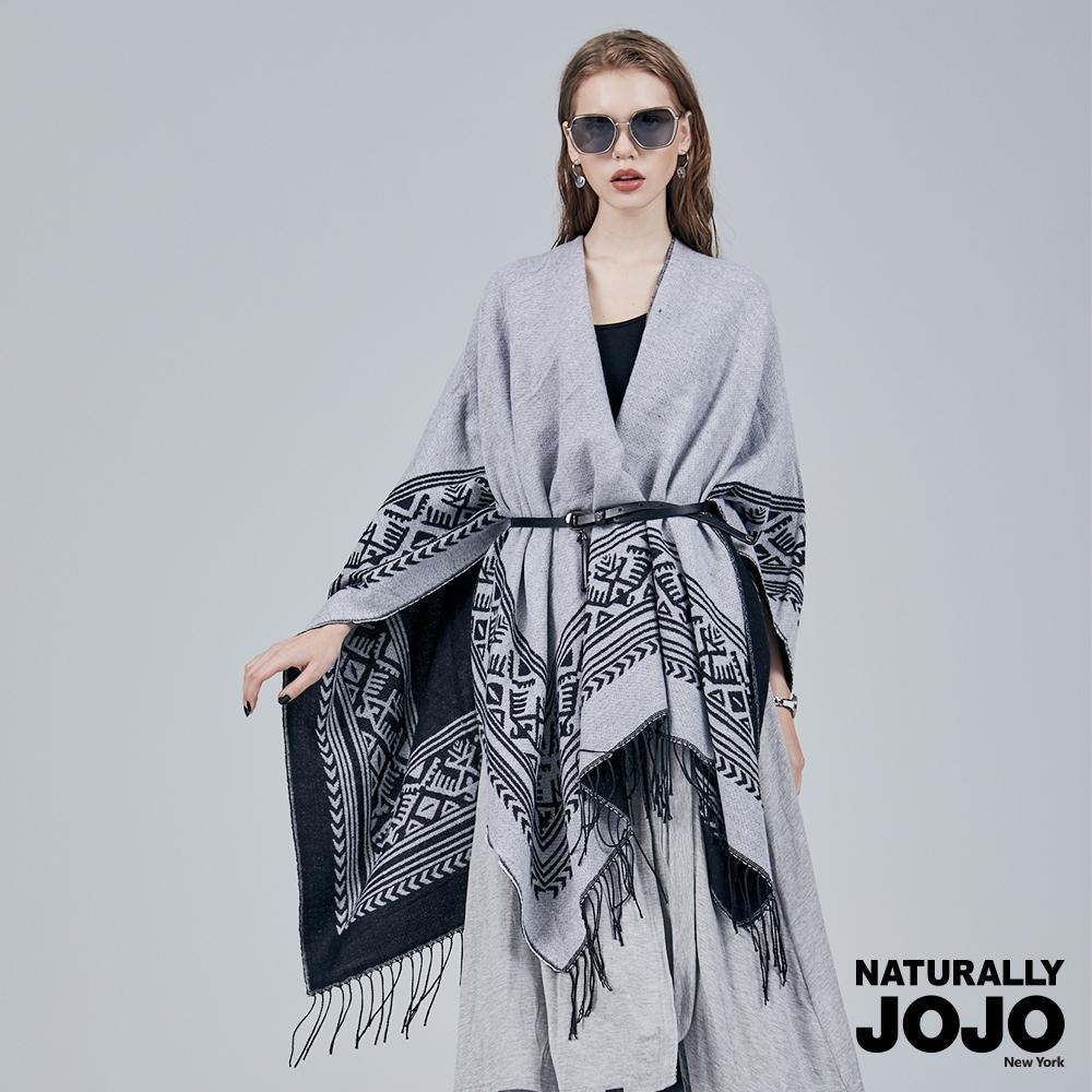 【NATURALLY JOJO】 雙面開衩斗篷大披肩 (花紋) product image 1