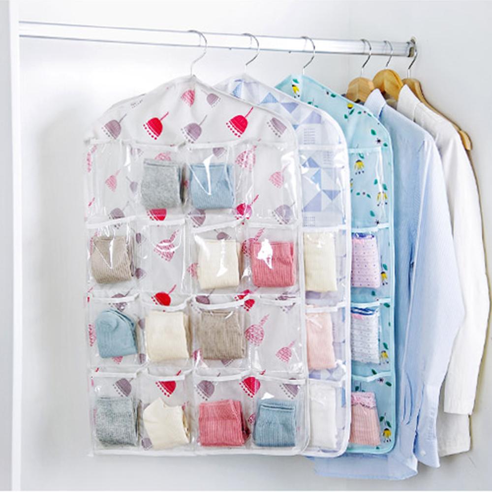 【收納職人】 衣櫥門後吊掛式16格透明分類收納袋2入/組(款式隨機)